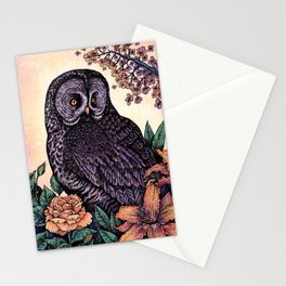 Great Grey Owl At Sunset Stationery Cards