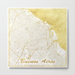 Buenos Aires Map Gold Metal Print