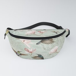 Vintage Watercolor hummingbird and Magnolia Flowers on mint Background Fanny Pack