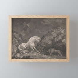 George Stubbs A Horse Affrighted by a Lion Black and White Vintage Ink Illustaration Fantasy Art Framed Mini Art Print