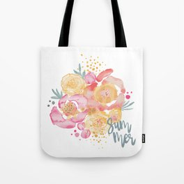 Summer Garden Bouquet - Watercolor Flowers Tote Bag