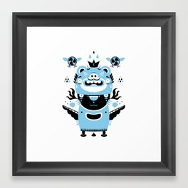 Blue and black totem fun Framed Art Print