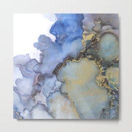 Alcohol Ink Art Handmade Indie Art Painting Blue Teal Gold Metal Print