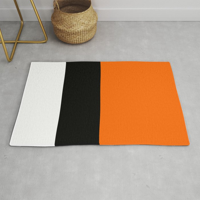 Modern White Black Orange Colorblock Rug By Annaleeblysse