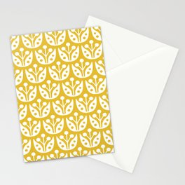 Mid Century Modern Flower Pattern Mustard Yellow Stationery Cards