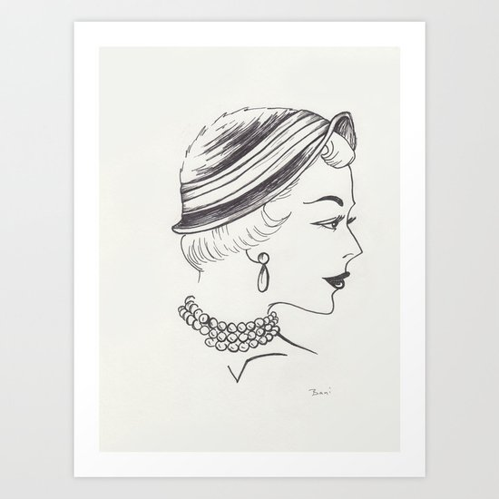 Nearly Vintage Millinery Illustration  Art Print