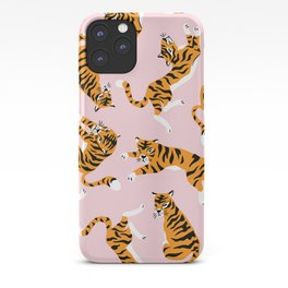 Cute tiger in the tropical forest hand drawn on pink background illustration iPhone Case