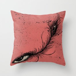 pink eye feather. Throw Pillow