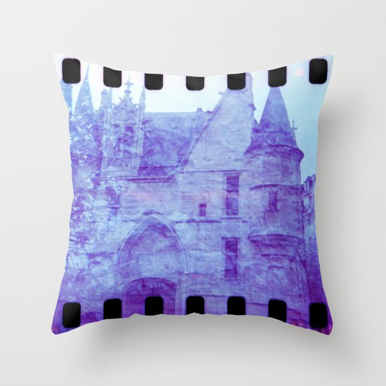 Chateau & Flowers Throw Pillow