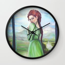 Bernadette and a fawn, oil paintinting on canvas Wall Clock