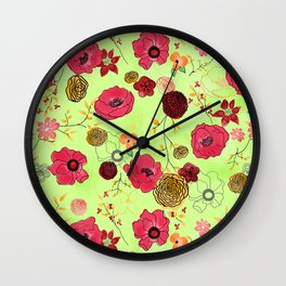 Poppy large floral print on bright green Wall Clock