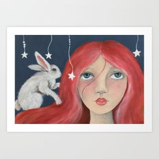 Red Head with Bunny Art Print