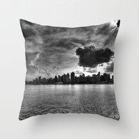 gotham Throw Pillows featuring Gotham by Sonic Highlark