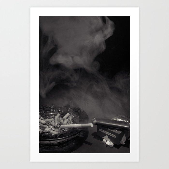 Cigarette Smoke Black and White Photo Art Print