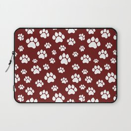 Puppy Prints on Maroon Laptop Sleeve