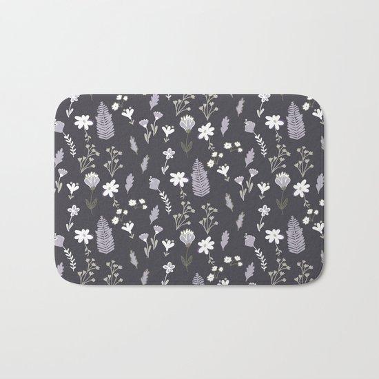 Dark Pastel Violet Flower Pattern Bath Mat