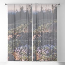 Wildflowers at Dawn - Nature Photography Sheer Curtain