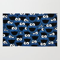 cookie monster Area & Throw Rugs featuring Cookie Monster  by aldarwish