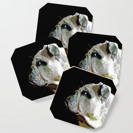 english bulldog dog vector art Coaster