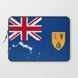 Turks and Caicos Islands TCI Flag with Island Maps Laptop Sleeve