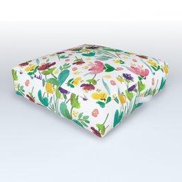 PRETTY POSIES HandPainted Watercolor Flowers, Bright, Cheerful. Outdoor Floor Cushion