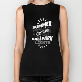 Summer Nights and Ballpark Lights Softball T-Shirt Biker Tank