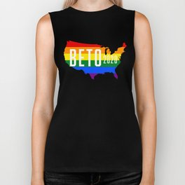 Beto 2020 GLBT / LGBT Rainbow Flag: Beto Orourke For President Campaign Sticker and Shirt Biker Tank