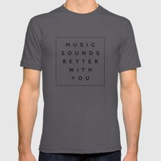 Music Sounds Better With You X-LARGE Mens Fitted Tee Asphalt