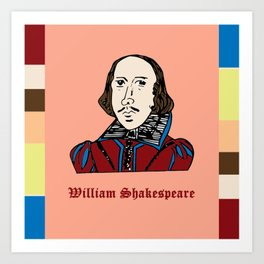 William Shakespeare - hand-drawn portrait Art Print