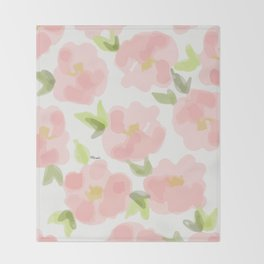 Floral watercolor pattern - pink roses Throw Blanket