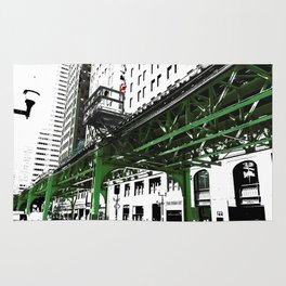 Chicago photography - Chicago EL art print in green black and white Rug