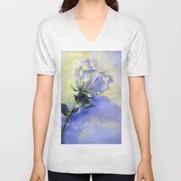 White Rose on White Background Unisex V-Neck