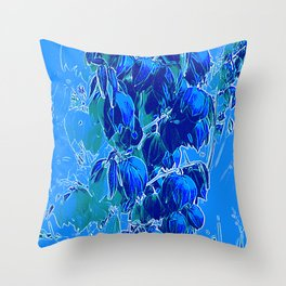 Yucca Flowers in Blues Throw Pillow