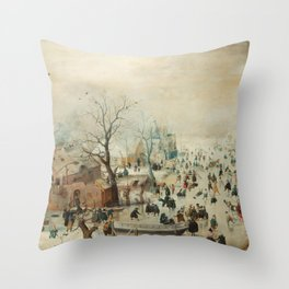 Hendrick Avercamp - Winter landscape with ice skaters ca. 1608 Throw Pillow