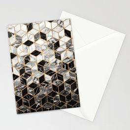 Marble Cubes - Black and White Stationery Cards