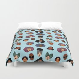 Black Hair Magic - Blue Duvet Cover