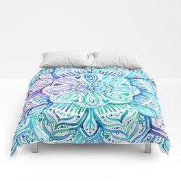 Iridescent Aqua and Purple Watercolor Mandala Comforters