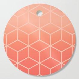 Living Coral Gradient - Geometric Cube Design Cutting Board