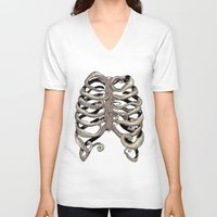 huebucket V-neck T-shirts featuring Your Rib is an Octopus by Huebucket