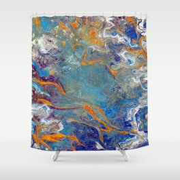 Fire and Ice 2 - Flow Acrylic Abstract Shower Curtain