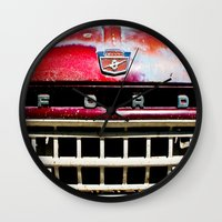 ford Wall Clocks featuring Old Ford by Kim Ramage