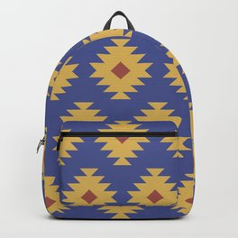 Southwestern Pattern 463 Yellow Brown and Blue Backpack
