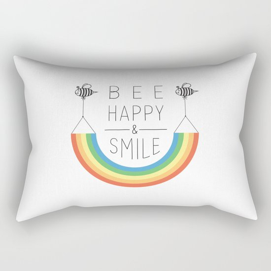 Bee Happy and Smile Rectangular Pillow