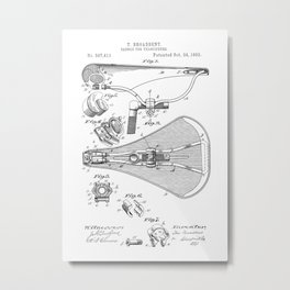 patent art Broadbent Saddle for Velocipedes 1893 Metal Print