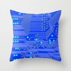 Blue Circuit Board  Throw Pillow