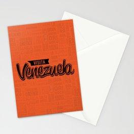 Venezuela - Lettering Design with orange background Stationery Cards
