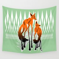 foxes Wall Tapestries featuring Foxes by AmKiLi
