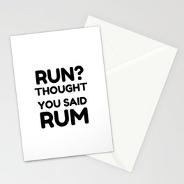 Funny Running graphics - Run I Thought You Said Rum design Stationery Cards