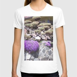 Rock Retaining Wall With Beautiful Trees and Purple Flowers T-shirt