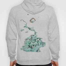 white silver turquoise marbled abstract digital painting Hoody